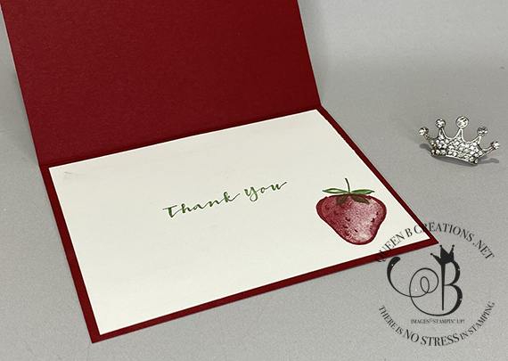 Stampin' Up! Sweet Strawberry bundle Sale-A-Bration Berry Delightful DSP Thank You card by Lisa Ann Bernard of Queen B Creations
