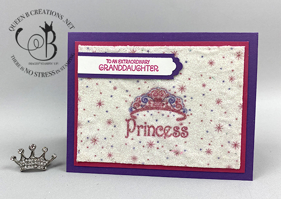 Stampin' Up! A Grand Kid napkin technique princesss birthday card by Lisa Ann Bernard of Queen B Creations