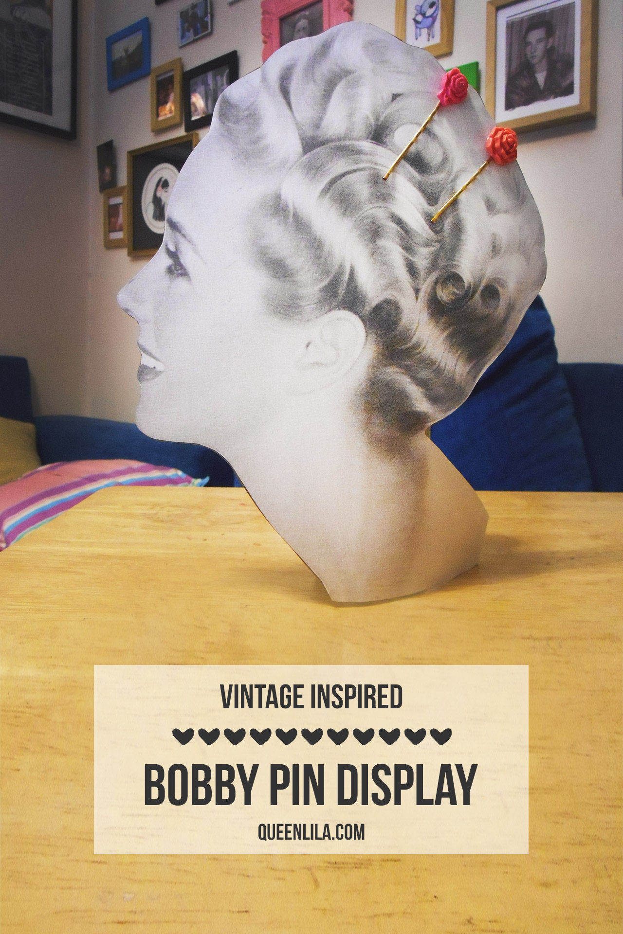 DIY Vintage Inspired bobby pin display by queenlila.com | Click through for the tutorial!