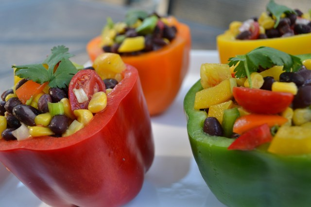 Black Bean Salad in Pepper Cups