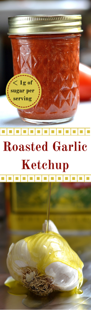 Roasted garlic ketchup. Lower sodium, gluten free, no added sugar. 4g of sugar in mass produced ketchup, less than 1g in this. Great shrimp cocktail sauce. | QueenofMyKitchen.com
