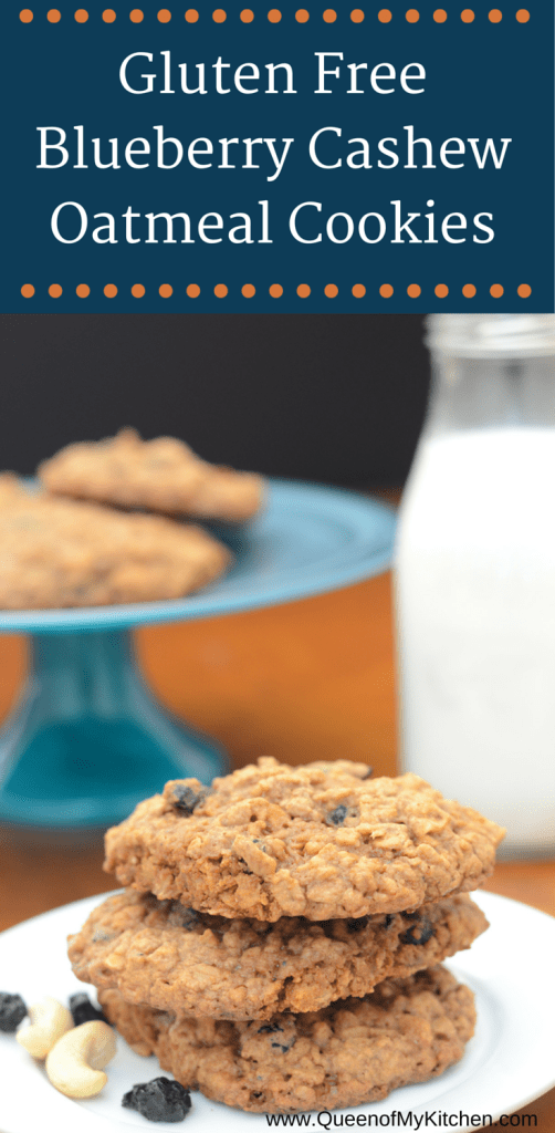 These Gluten Free Blueberry Cashew Oatmeal Cookies are sweetened with coconut sugar. This is a great recipe as you can vary the signature ingredients to make several flavors. Cherry Almond, Cranberry Pecan, and Apple Walnuts Oatmeal cookies can all be made with this one basic recipe. This is a great recipe to have in your gluten-free baking repertoire. | QueenofMyKitchen.com