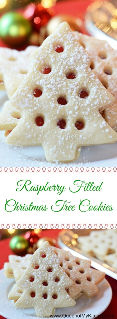 Skip the mess involved in decorating Christmas cookies with icing. These Raspberry Filled Christmas Tree cookies are just as beautiful as iced Christmas cookies but require less time and skill and don't make nearly the mess. | QueenofMyKitchen.com #christmas #christmascookies #christmascookieideas #christmascookieexchange