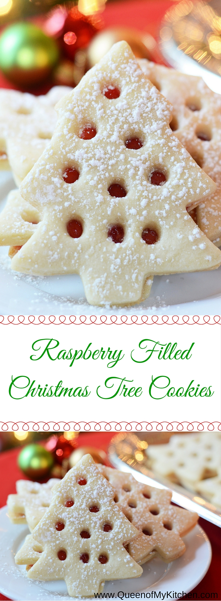 skip the mess involved in decorating christmas cookies with icing these raspberry filled christmas tree - Decorating Christmas Cookies