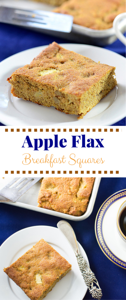 Apple Flax Breakfast Squares have 9g of protein, 9g of fiber and 5,600mg of omega 3s. Gluten free, grain free, and paleo. A great alternative to a morning muffin. | QueenofMyKitchen.com