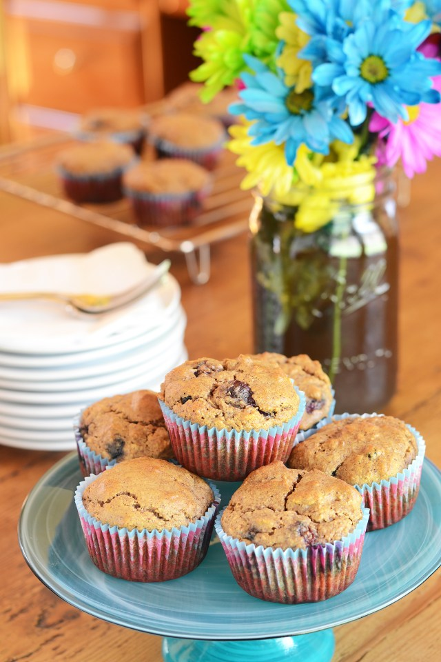 Gluten-Free Blueberry Almond Granola Muffins are made with almond flour, avocado oil, apple sauce, maple syrup, and fresh blueberries with only 8g of sugar.   QueenofMyKitchen.com