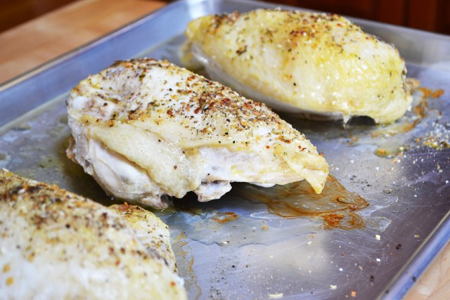 Basic Roasted Chicken Breasts are a great alternative to cold cuts and processed deli meats. This simple recipe yields tender, juicy chicken meat. | QueenofMyKitchen.com