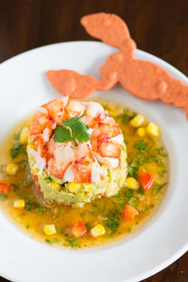 Lobster, Avocado, and Chickpea Salad with Lime Cilantro Vinaigrette is packed with fresh, bright, nutritious flavors. It can be served as a light meal or an elegant first course. Gluten free too. | QueenofMyKitchen.com