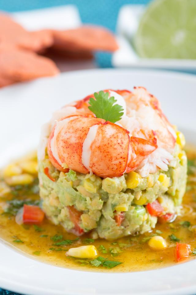 Lobster, Avocado, and Chickpea Salad with Lime Cilantro Vinaigrette is packed with fresh, bright, nutritious flavors. It can be served as a light meal or an elegant first course. Gluten free too.   QueenofMyKitchen.com