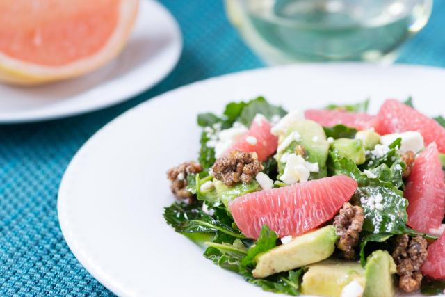 Baby Kale and Grapefruit Salad with Campari Vinaigrette - a simple and sophisticated salad with a vinaigrette made from the classic Italian aperitif Campari. | QueenofMyKitchen.com
