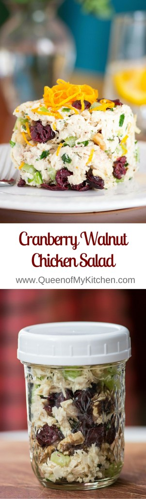 Cranberry Walnut Chicken Salad is classic chicken salad made with avocado mayonnaise and dotted with cranberries, walnuts, and a hint of orange zest. The cleanest, freshest tasting chicken salad ever! | QueenofMyKitchen.com