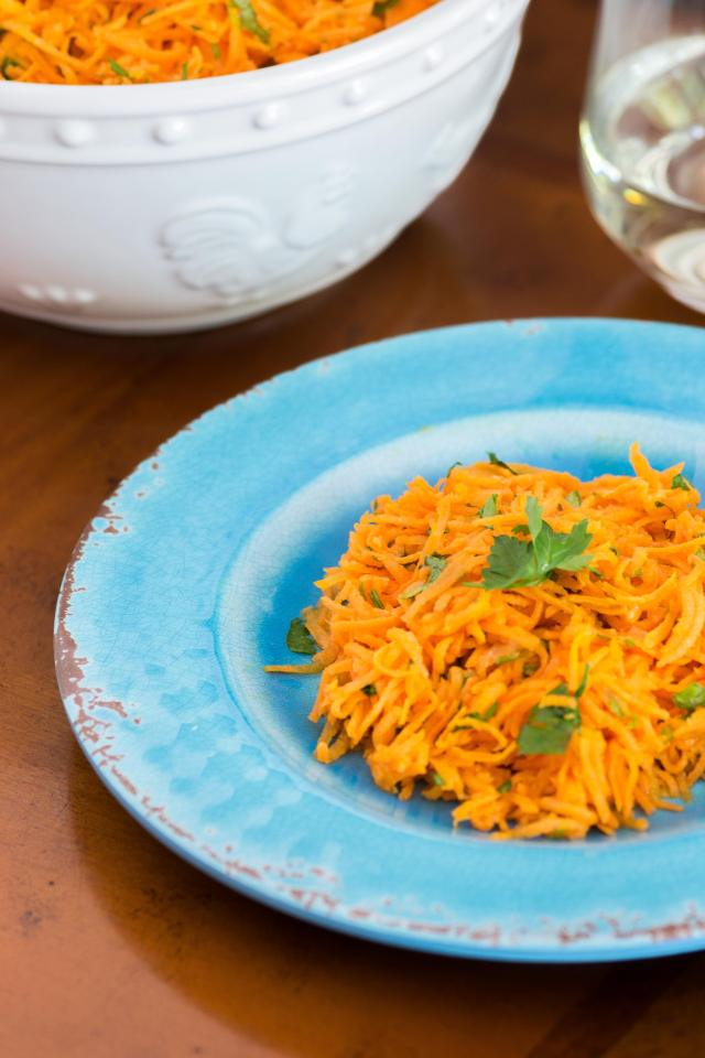 Bistro Carrot Salad is a mainstay at bistros all over France. Grated carrots and parsley in a lemon vinaigrette. Delicious and very French! Gluten-free and vegan. | QueenofMyKitchen.com