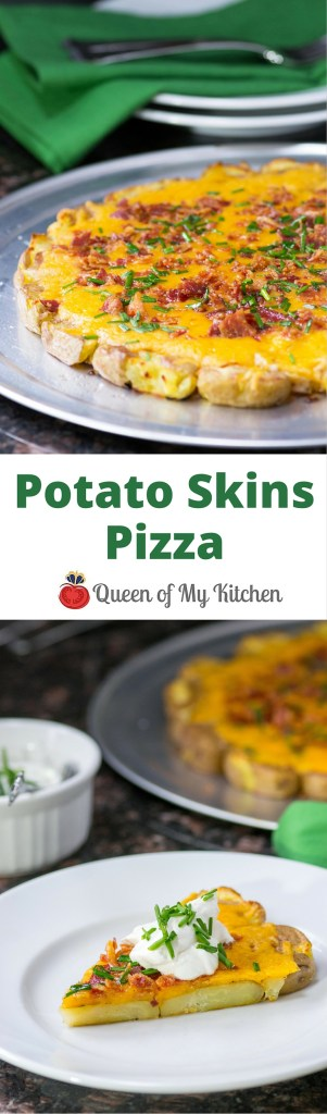 Smashed, roasted baby potatoes masquerade as pizza crust in this seriously addictive rendition of loaded potato skins. You'll find all of the signature ingredients you associate with classic potato skins in this delicious pizza – cheddar cheese, crispy bacon, and chive infused sour cream. | QueenofMyKitchen.com