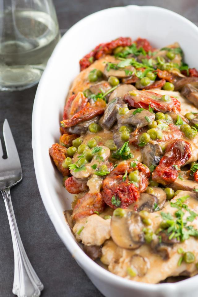 Chicken Marsala with Peas and Sun Dried Tomatoes is gluten free and takes just 20 minutes to prepare. A great recipe for busy weeknights. | QueenofMyKitchen.com