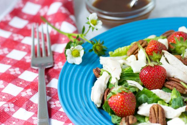 Strawberry Chicken Pecan Salad with Feta Cheese and Maple Balsamic Vinaigrette - a salad with a magical combination of flavors and textures, and the ultimate salad for strawberry season!