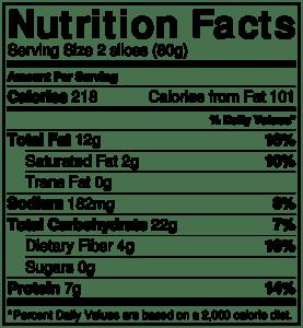 NutritionLabel Pepita Quinoa Chia Bread