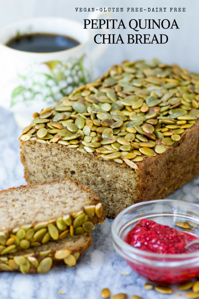 Pepita Quinoa Chia Bread is gluten-free, dairy-free, and vegan. A delicious yeast-free bread that's high in protein, fiber, and healthy fats. | QueenofMyKitchen.com #glutenfree #vegan #dairyfree #glutenfreebread #glutenfreerecipes #veganrecipes