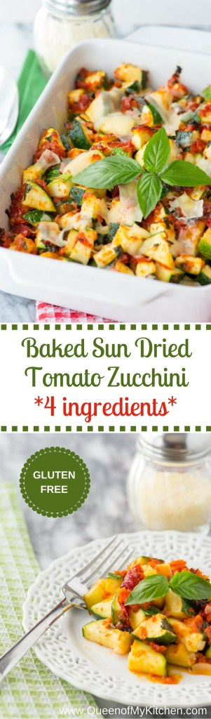 Baked Sun Dried Tomato Zucchini is a delicious oven-to-table casserole with just 4 ingredients. Quick, easy, and requires only 20 minutes in the oven.