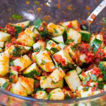 Baked Sun Dried Tomato Zucchini