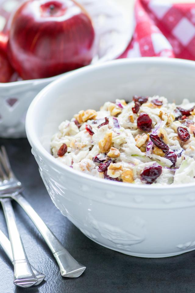 Apple Cranberry Walnut Cole Slaw - classic coleslaw with a healthy twist. Made with avocado mayonnaise and contains no added sugar. | QueenofMyKitchen.com