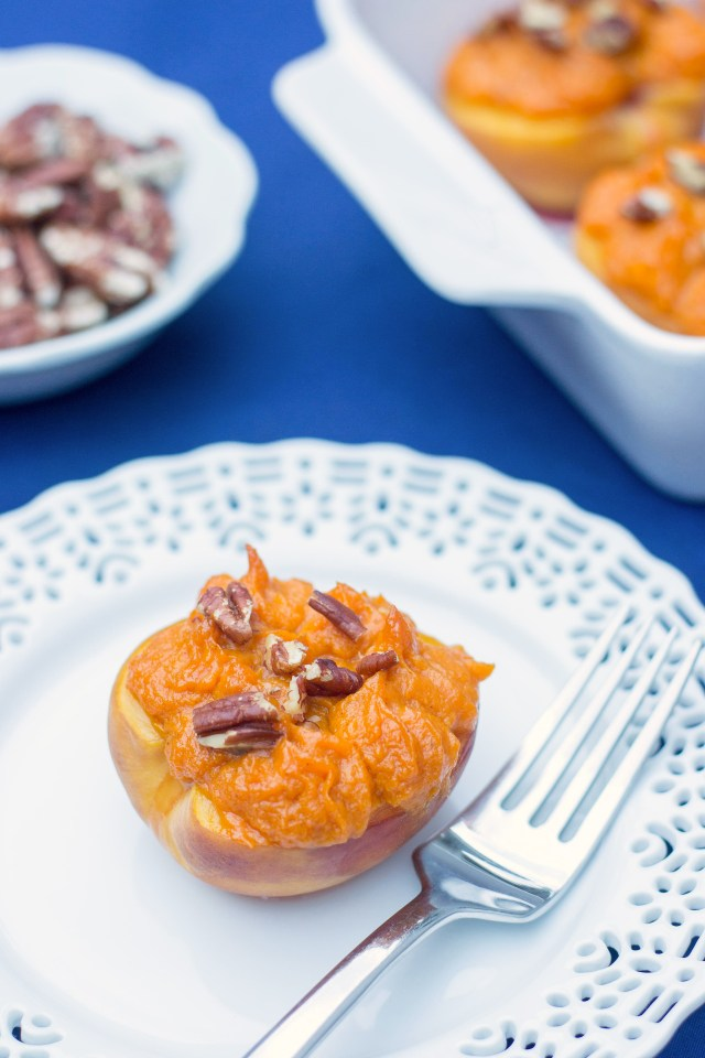 Sweet Potato Stuffed Peaches - Great served with grilled chicken or pork. Gluten-free and vegan. Only 4 ingredients! | QueenofMyKitchen.com
