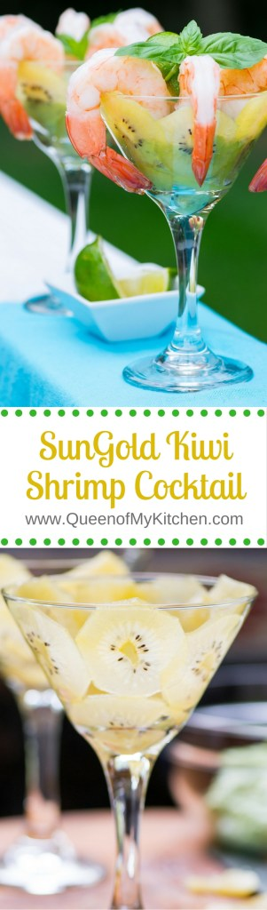 SunGold Kiwi Shrimp Cocktail – Cool, creamy, kiwi infused avocado yogurt sauce with a hint of lime makes a healthy and delicious sauce for chilled jumbo shrimp and a gorgeous presentation! #thereciperedux #ad | QueenofMyKitchen.com