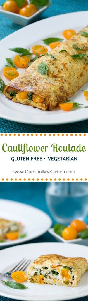 Cauliflower Roulade - Tomatoes, goat cheese, and fresh basil encased in a savory cauliflower blanket. If you love cauliflower but were never sold on the idea of using it in a pizza crust then this recipe is for you! | www.QueenofMyKitchen.com