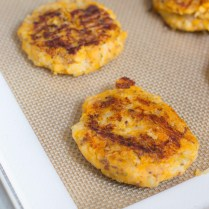 Sweet Potato Cauliflower Cakes with Dairy-Free Cashew Sour Cream