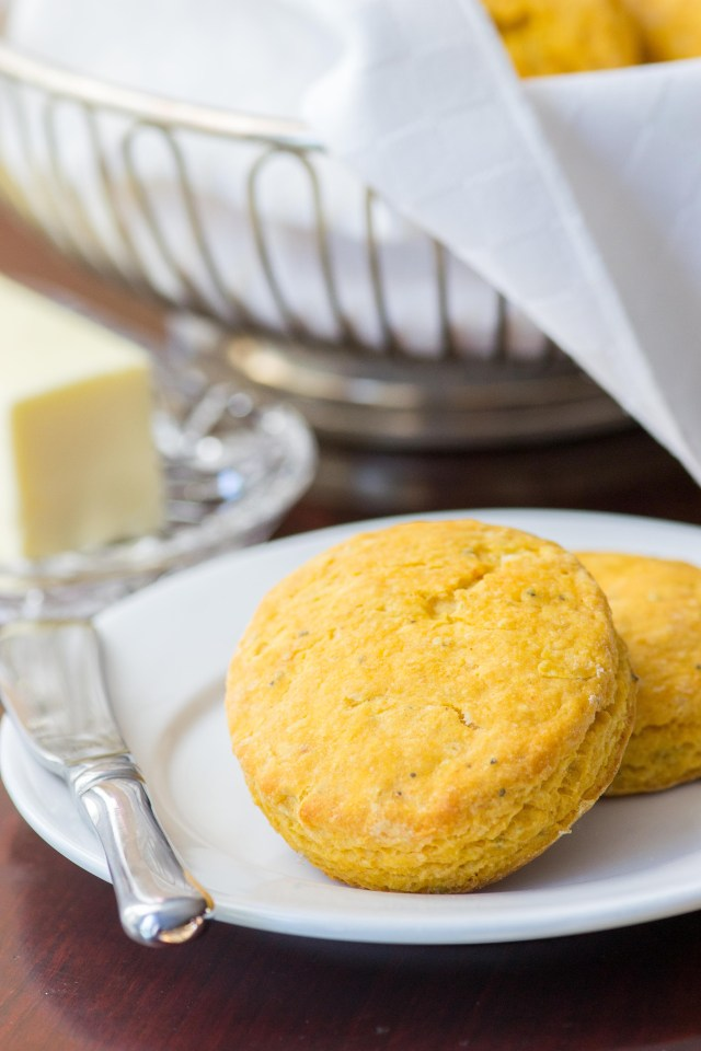 Herbed Sweet Potato Biscuits – a soft, sweet, and subtly savory biscuit. Ditch the dinner rolls and serve these instead! | QueenofMyKitchen.com
