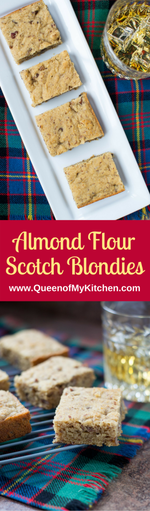 Almond Flour Scotch Blondies - Made with Scotch whiskey, these melt-in-your-mouth dessert bars are casual in appearance, but sophisticated in taste. | QueenofMyKitchen.com