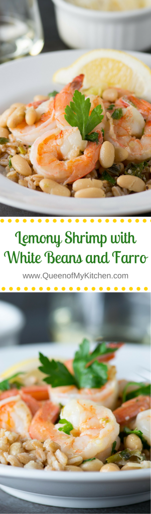 Lemony Shrimp with White Beans and Farro - A light, healthy, and delicious meal that's a great alternative to shrimp scampi. Packed with protein and fiber! | QueenofMyKitchen.com