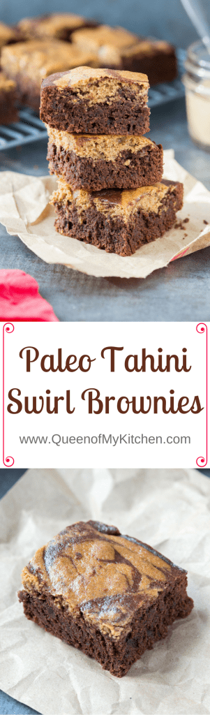 Paleo Tahini Swirl Brownies - pretty brownies with sophisticated taste and rich chocolate flavor.   QueenofMyKitchen.com