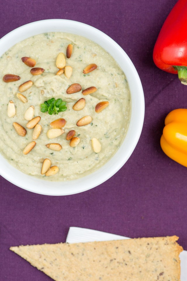 Roasted Eggplant Tahini Dip – A savory and healthy vegetable dip made with Greek yogurt and infused with fresh basil. Perfect for entertaining. | QueenofMyKitchen.com