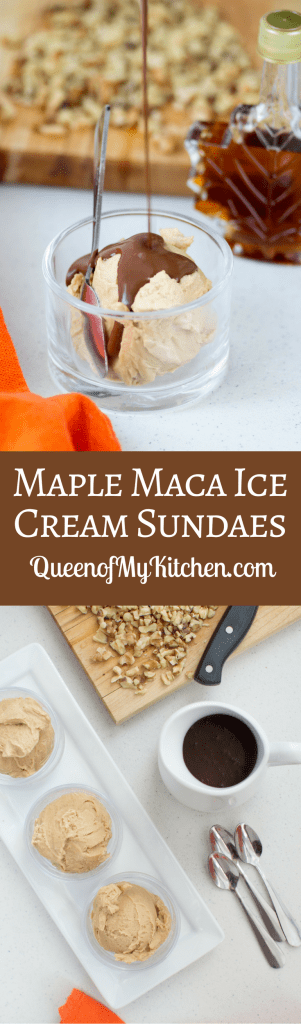Maple Maca Ice Cream Sundaes - A rich and creamy vegan ice cream, infused with the superfood maca, and topped with a bittersweet dark chocolate sauce. | QueenofMyKitchen.com