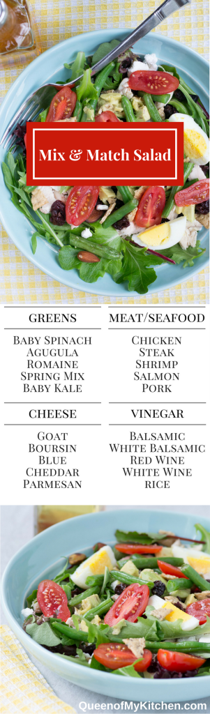 Mix & Match Salad – This basic recipe is your guide to creating an endless number of delicious salads AND a great way to reduce food waste! | QueenofMyKitchen.com
