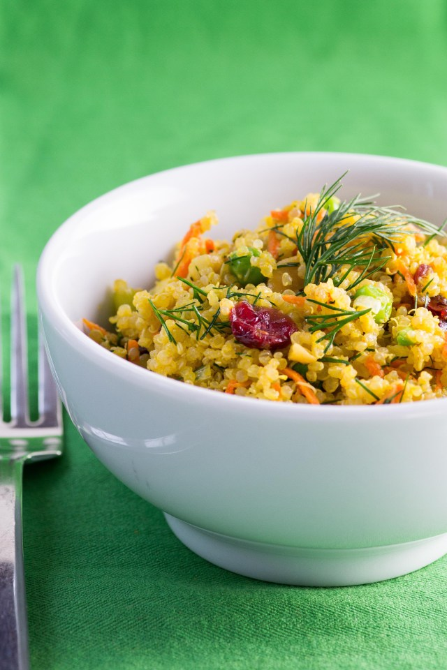 Curried Cranberry Cashew Quinoa – A quinoa salad with a colorful assortment of healthy ingredients and a curry infused Greek Yogurt dressing. Gluten-free.   QueenofMyKitchen.com
