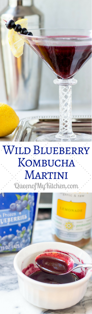 Wild Blueberry Kombucha Martini – Made with homemade wild blueberry juice and lemon kombucha. A delicious, healthier martini with intense blueberry flavor. | QueenofMyKitchen.com
