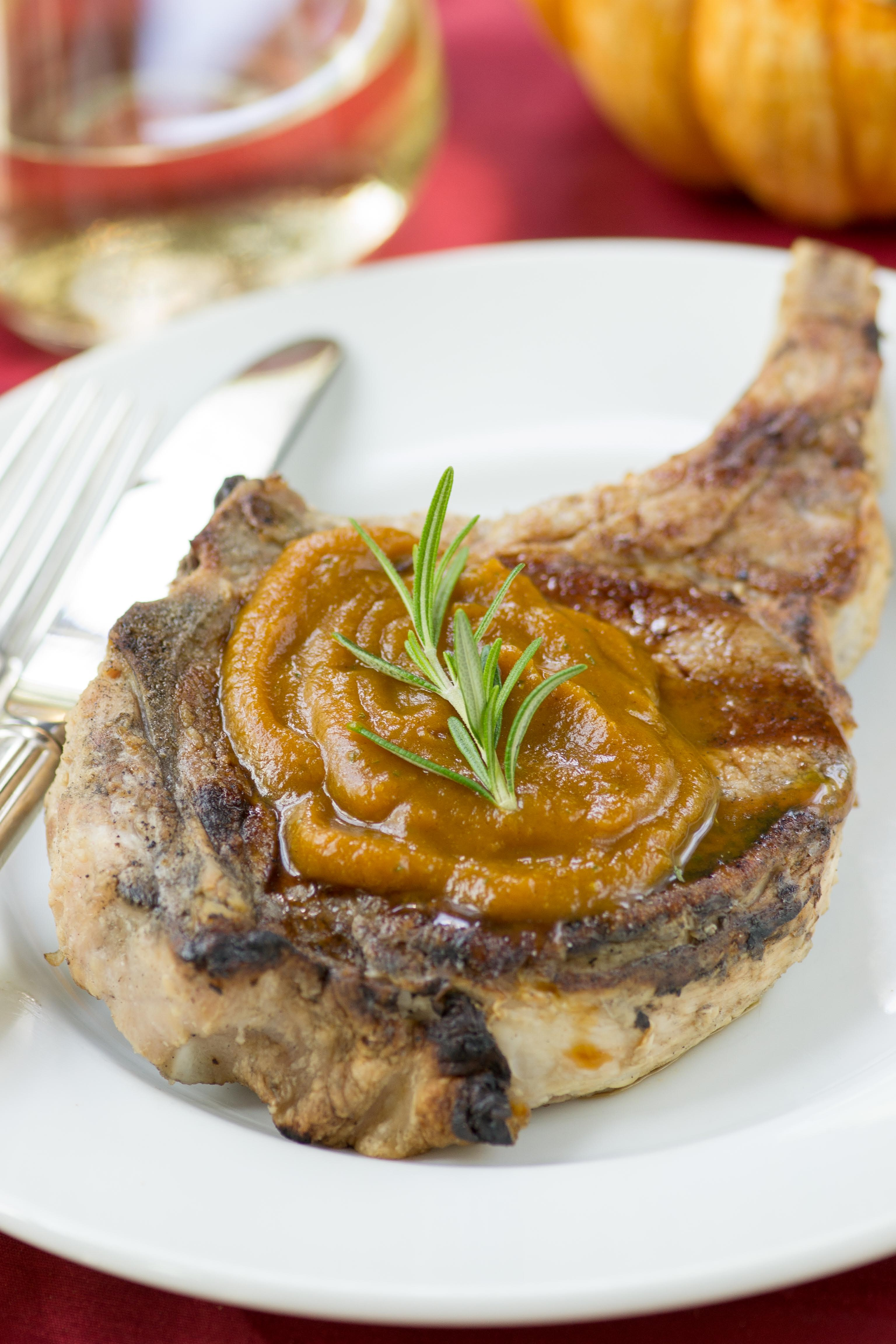 Grilled Pork Chops with Rosemary Pumpkin Butter - Queen of ...