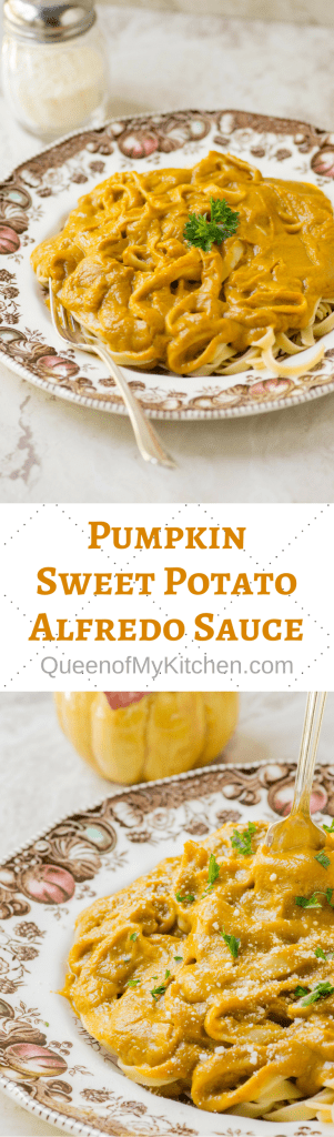 Pumpkin Sweet Potato Alfredo Sauce – A rich, creamy, and healthier Alfredo sauce infused with warm fall spices. Perfect for pasta casseroles or served atop fettuccine. | QueenofMyKitchen.com #pumpkin #pumpkinrecipes #fallfood