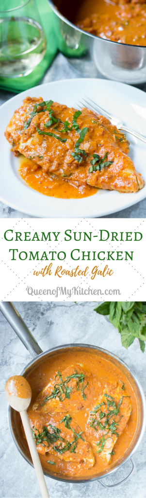 Creamy Sun-Dried Tomato Chicken with Roasted Garlic - Chicken cutlets are quickly sautéed in olive oil and then bathed in a rich, creamy sauce made from sun-dried tomatoes and roasted garlic. Flavor packed! Gluten-free too. | QueenofMyKitchen.com #chickendinners #ChickenRecipes #chickenrecipe #ChickenRecipesEasy #glutenfreerecipe #glutenfreefood