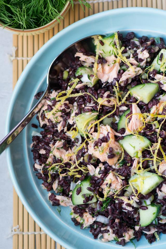 Black Rice Salmon Salad with Lemon Dijon Vinaigrette – A light, delicious, and healthy salad made with the ancient grain known as forbidden rice.   QueenofMyKitchen.com #rice #blackrice #forbiddenrice #seafoodsalad #salmon #salad #ancientgrains