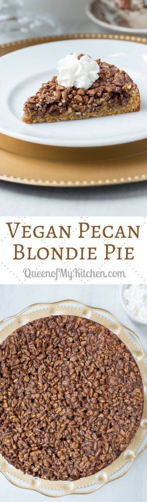 Vegan Pecan Blondie Pie - Lightly spiced candied pecans, on top of a sweet, tender blondie base, make this delicious mock pecan pie. Gluten-free, dairy-free, no refined sugar. | QueenofMyKitchen.com #pecanpie #pecanpierecipe #Thanksgiving #vegan #dairyfree #glutenfree #norefinedsugar