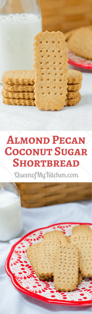 Almond Pecan Coconut Sugar Shortbread - A healthier shortbread cookie even more delicious than the classic version. Gluten-free with no refined sugar and a melt-in-your mouth texture. | QueenofMyKitchen.com | #cookie #cookies #glutenfree #glutenfreerecipes #glutenfreecookies #shortbread #shortbreadcookies