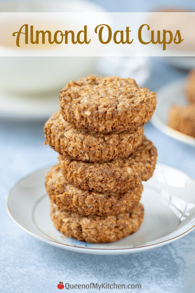 Almond Oat Cups - A cross between a cookie, a muffin, and a teacake. Gluten-free, egg-free, and only take 10 minutes to bake. Perfect as a healthy snack or with a cup of tea. | QueenofMyKitchen.com | #glutenfree #glutenfreesnack #glutenfreebaking #glutenfreesnack #oatcups #eggfree #eggfreebaking