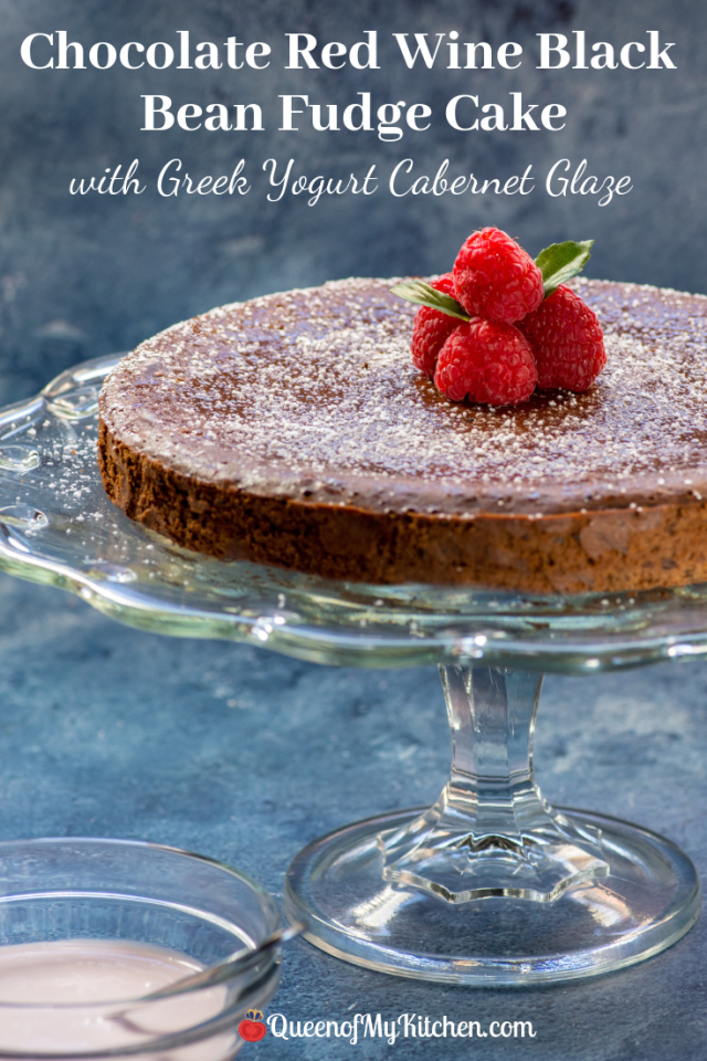 Chocolate Red Wine Black Bean Fudge Cake with Greek Yogurt Cabernet Glaze - A rich and decadent fudge cake free of gluten and refined sugar. Healthy desserts don't get better than this! | QueenofMyKitchen.com | #glutenfree #dessert #chocolatedessert #glutenfreedessert #fudgecake #healthydessert #cleaneating