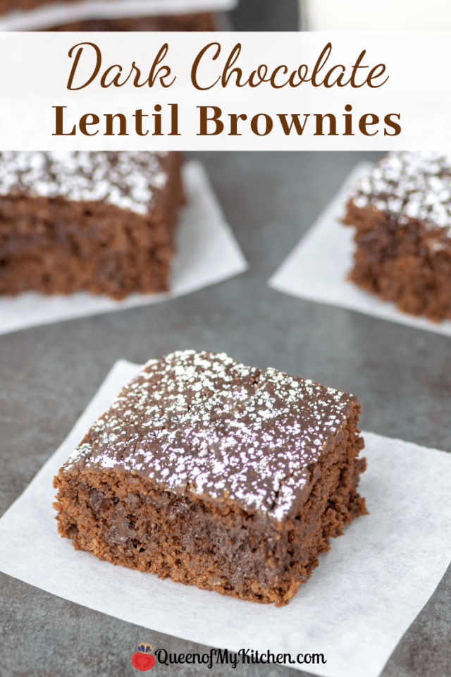 Dark Chocolate Lentil Brownies - Rich chocolate flavor in a healthy brownie made with lentils. Lower in sugar and higher in protein and fiber than regular brownies. Gluten-free. | QueenofMyKitchen.com | #brownies #brownie #healthydessert #healthydesserts #glutenfree #healthytreat #darkchocolate
