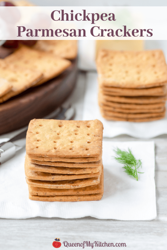 Chickpea Parmesan Crackers - Hearty, rustic, crackers with delicious savory flavor. Made with gluten-free, protein-rich chickpea flour and look gorgeous on charcuterie boards. | QueenofMyKitchen.com | #crackers #glutenfreesnack #glutenfreesnacks #glutenfreecrackers #chickpeaflour #glutenfreerecipe #charcuterie #charcuterieboards