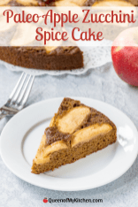 Paleo Apple Zucchini Spice Cake - Apple, zucchini, and warm fall spices in a gluten-free, dairy free dessert. The moistest cake you'll ever taste. #dessert #paleodessert #glutenfreedessert #dairyfreedessert #paleo #fallfood #spicecake #zucchinicake #cake
