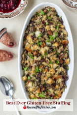 Best Ever Gluten-Free Stuffing – A wide assortment of super savory ingredients combine to make the most delicious Thanksgiving stuffing ever! | QueenofMyKitchen.com | #Thanksgiving #stuffing #turkey #dressing #glutenfreestuffing #glutenfreerecipe #glutenfreeholidayrecipes