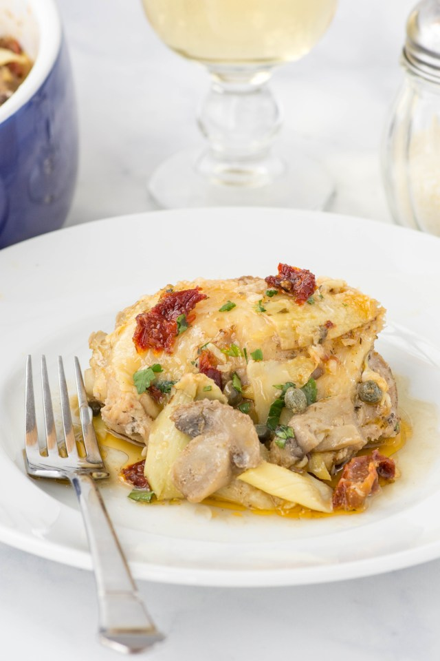 Tuscan Roasted Chicken Thighs - A fabulous make-ahead chicken dish with a delectable sauce. Perfect for entertaining or buffet style dining. | QueenofMyKitchen.com | #chicken #chickendinner #makeahead #makeaheaddinner #chickendish